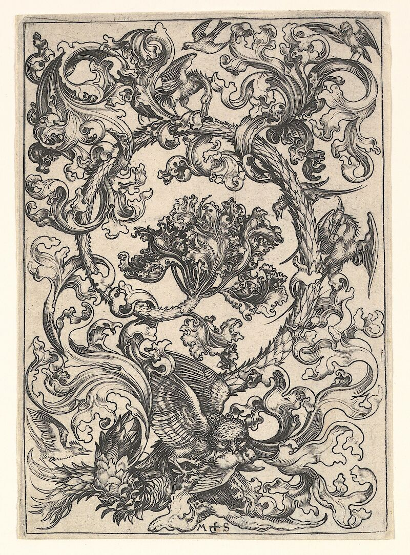 Ornament with Owl Mocked by Day Birds