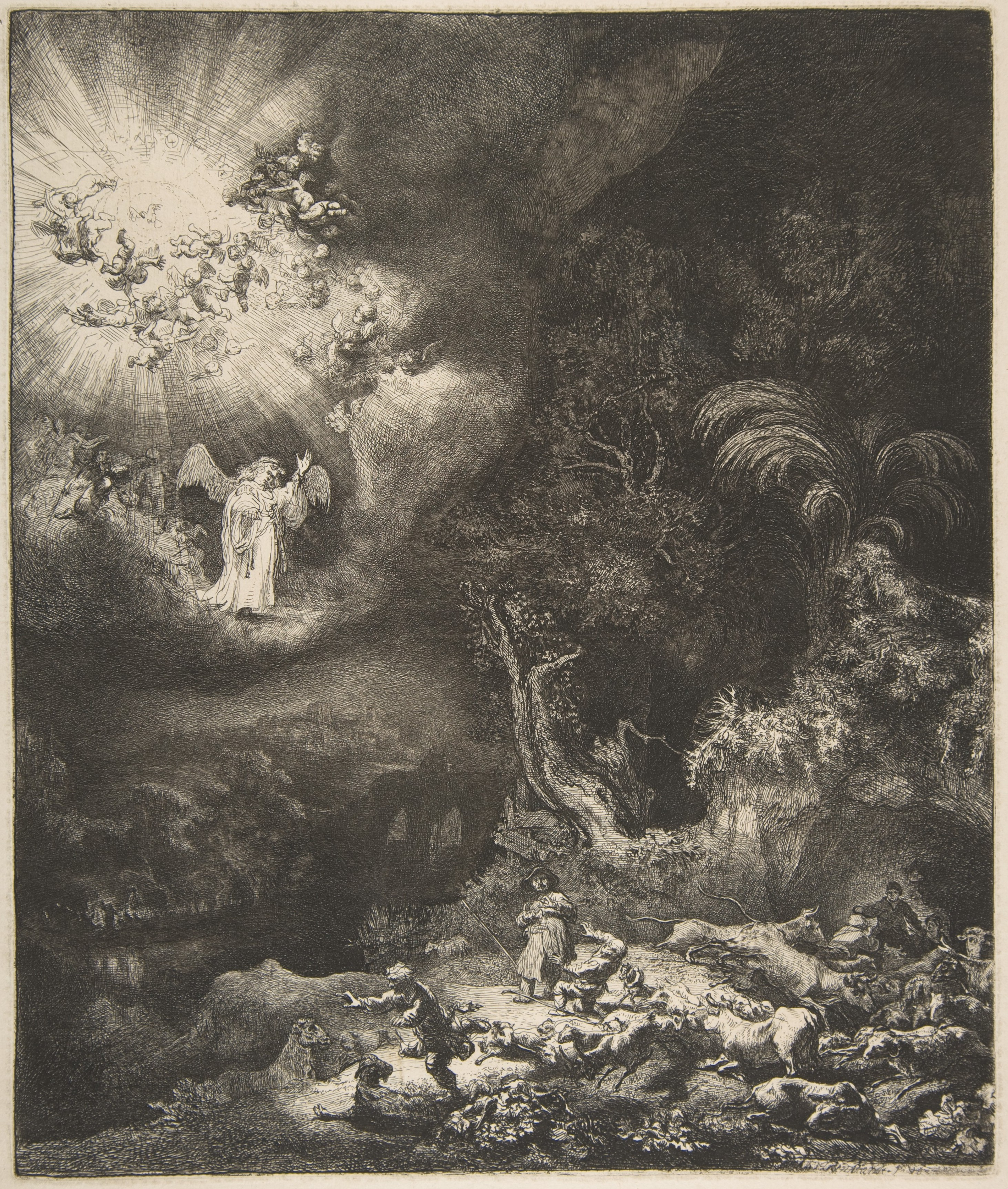 The Angel Appearing to the Shepherds, 1634 — Rembrandt van Rijn