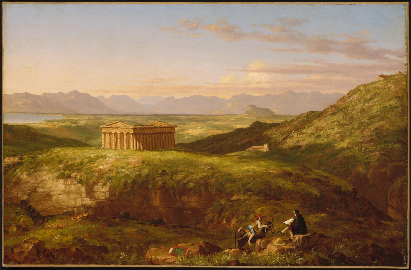 The Temple of Segesta with the Artist Sketching, 1842 — Thomas Cole