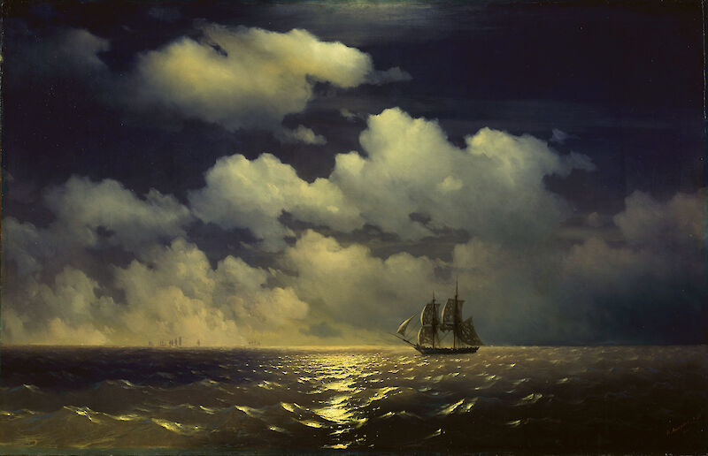 The brig Mercury encounter after defeating two Turkish ships, 1848, Ivan Aivazovsky
