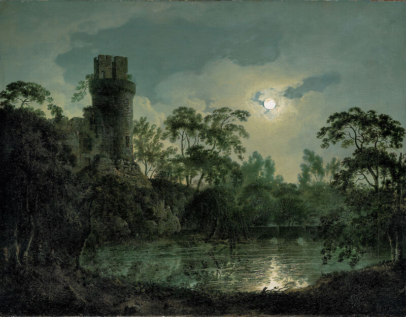 Lake by Moonlight with Castle on Hill