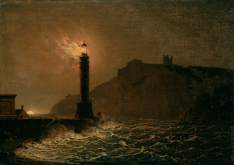 A lighthouse on fire at night, 1770, Joseph Wright of Derby