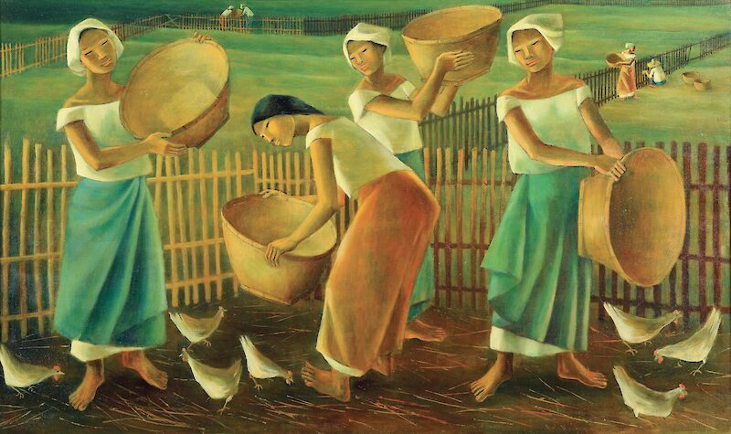 Women Feeding Chickens
