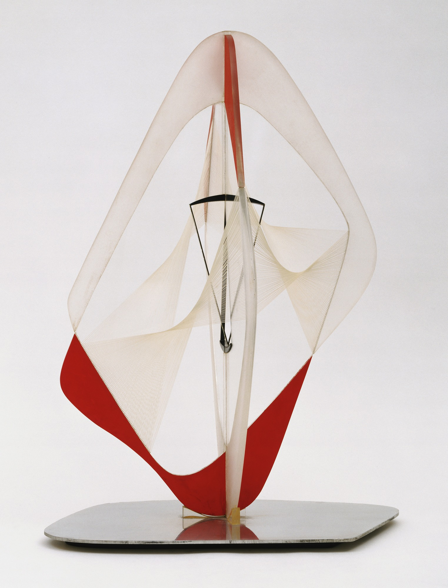 Linear Construction in Space no. 3, with Red, 1953 — Naum Gabo