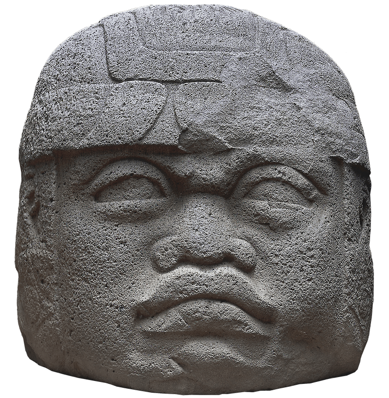 Olmec Head, La Venta Monument 1, 600 BCE, Olmec Civilization