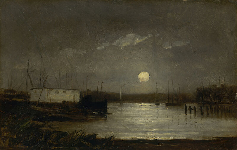 Untitled, Moon Over a Harbor, 1868, Edward Mitchell Bannister