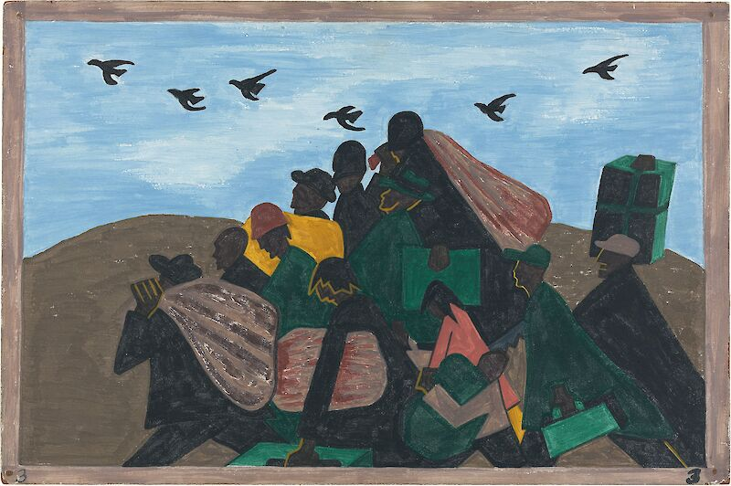 Migration Series No.3:  From every southern town migrants left by the hundreds to travel north, 1941, Jacob Lawrence