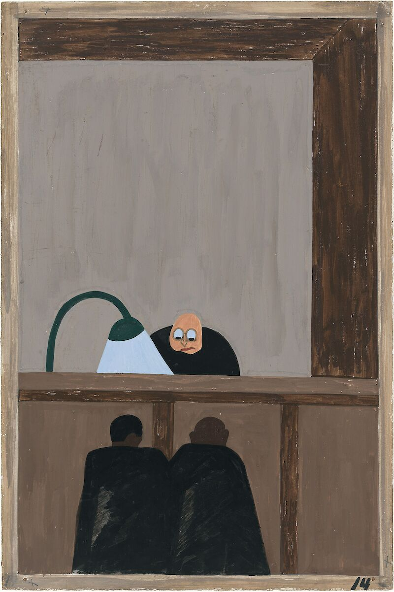 Migration Series No.14: For African Americans there was no justice in the southern courts, 1941, Jacob Lawrence