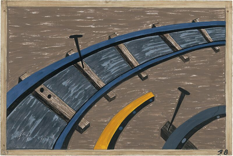 Migration Series No.38: They also worked on the railroads, 1941, Jacob Lawrence