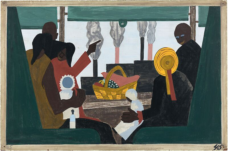 Migration Series No.45: The migrants arrived in Pittsburgh, one of the great industrial centers of the North, 1941, Jacob Lawrence