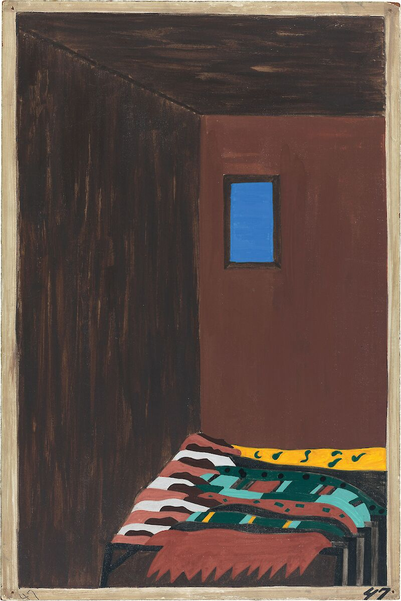 Migration Series No.47: As the migrant population grew, good housing became scarce. Workers were forced to live in overcrowded and dilapidated tenement houses, 1941, Jacob Lawrence