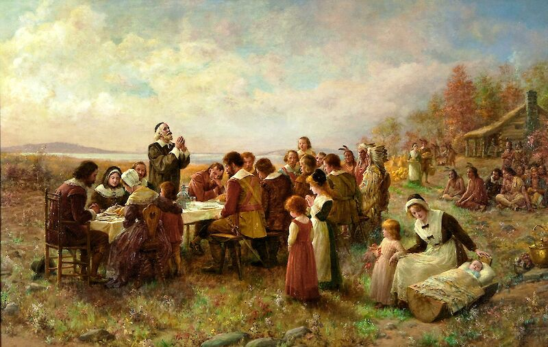 The First Thanksgiving at Plymouth, 1914, 1914, Jennie Augusta Brownscombe