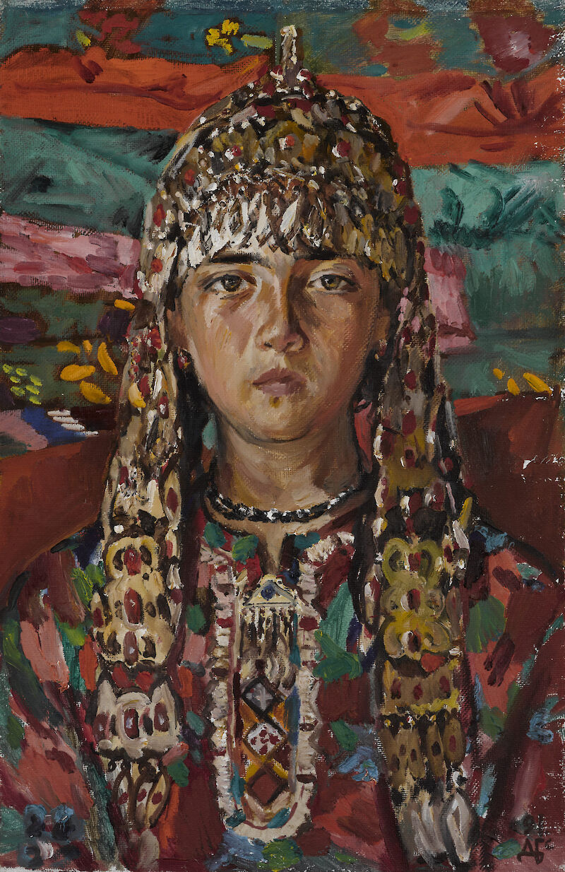 Portrait of Mergen with Turkmen ornaments, 1991, Durdy Bayramov