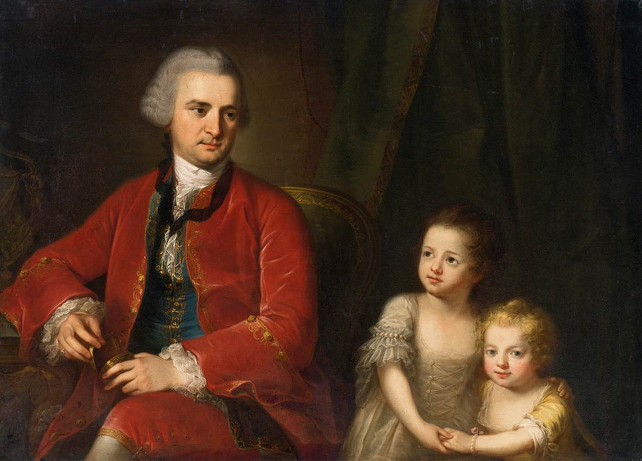 Portrait of John Apthorp and His Daughters, 1764 — Angelica Kauffmann,