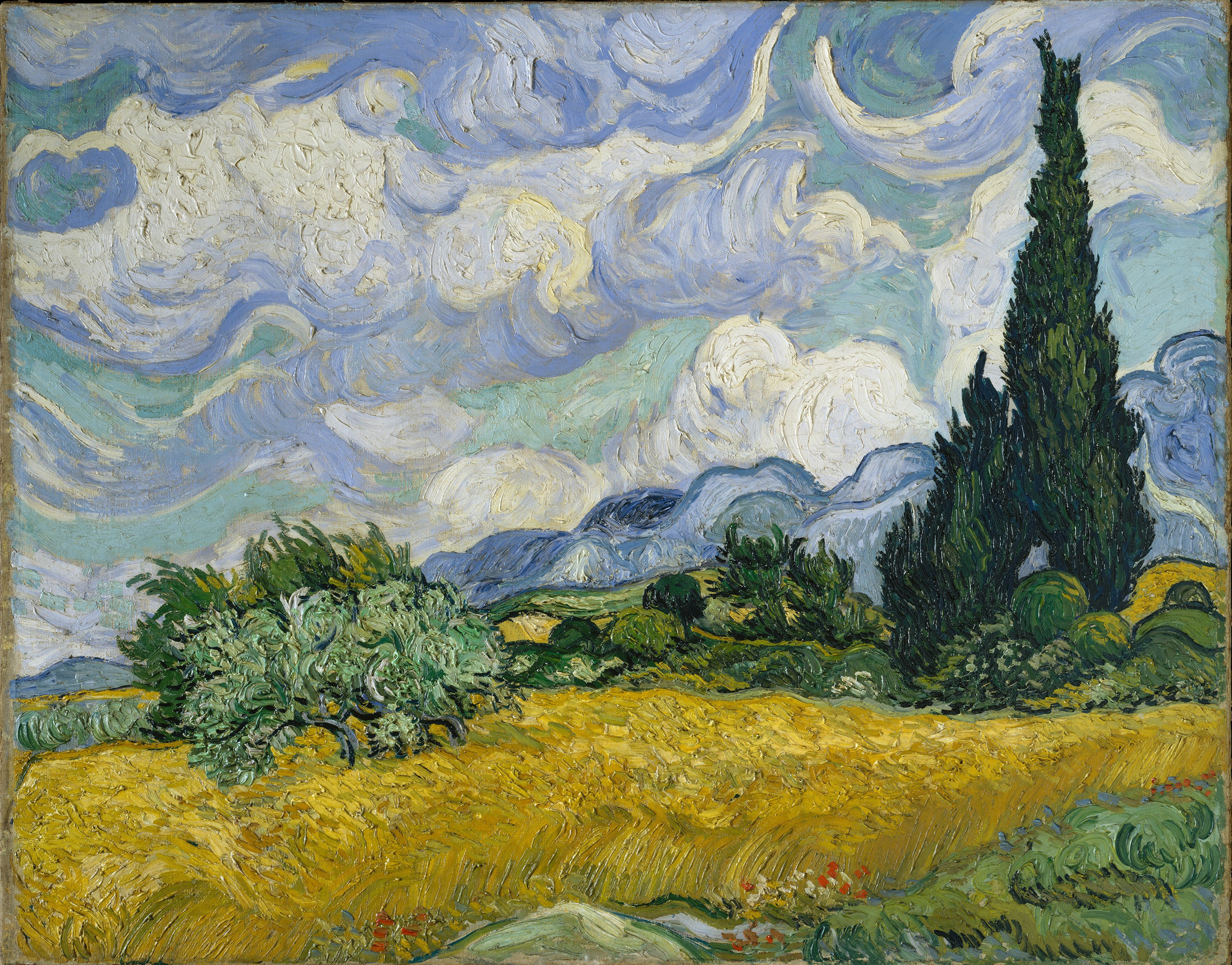 Wheat Field with Cypresses, 1889 — Vincent Van Gogh,