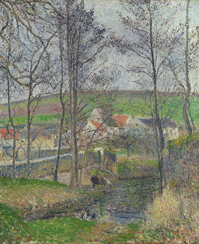The banks of the Viosne at Osny in grey weather, Winter, 1883, Camille Pissarro