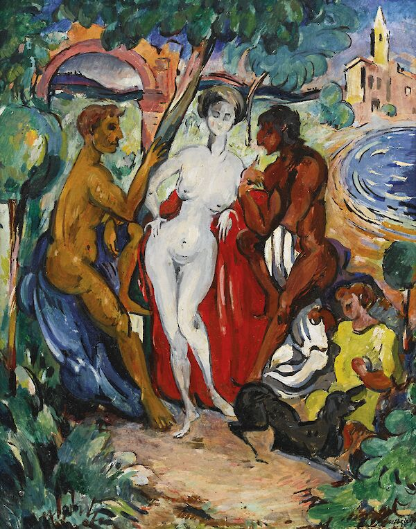 Woman, Two Men and Children
