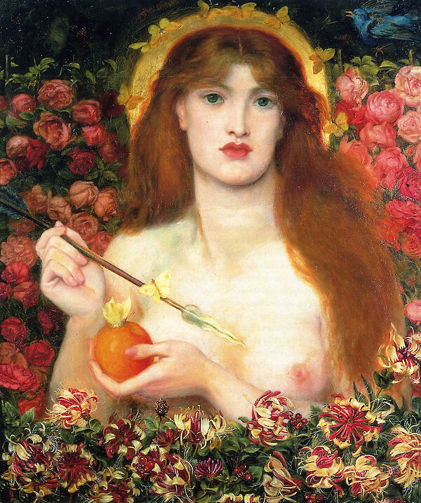 Dante Gabriel Rossetti - Venus Verticordia 1863-1868 83.8x71.2cm Russell-Cotes Art Gallery and Museum Bournemouth