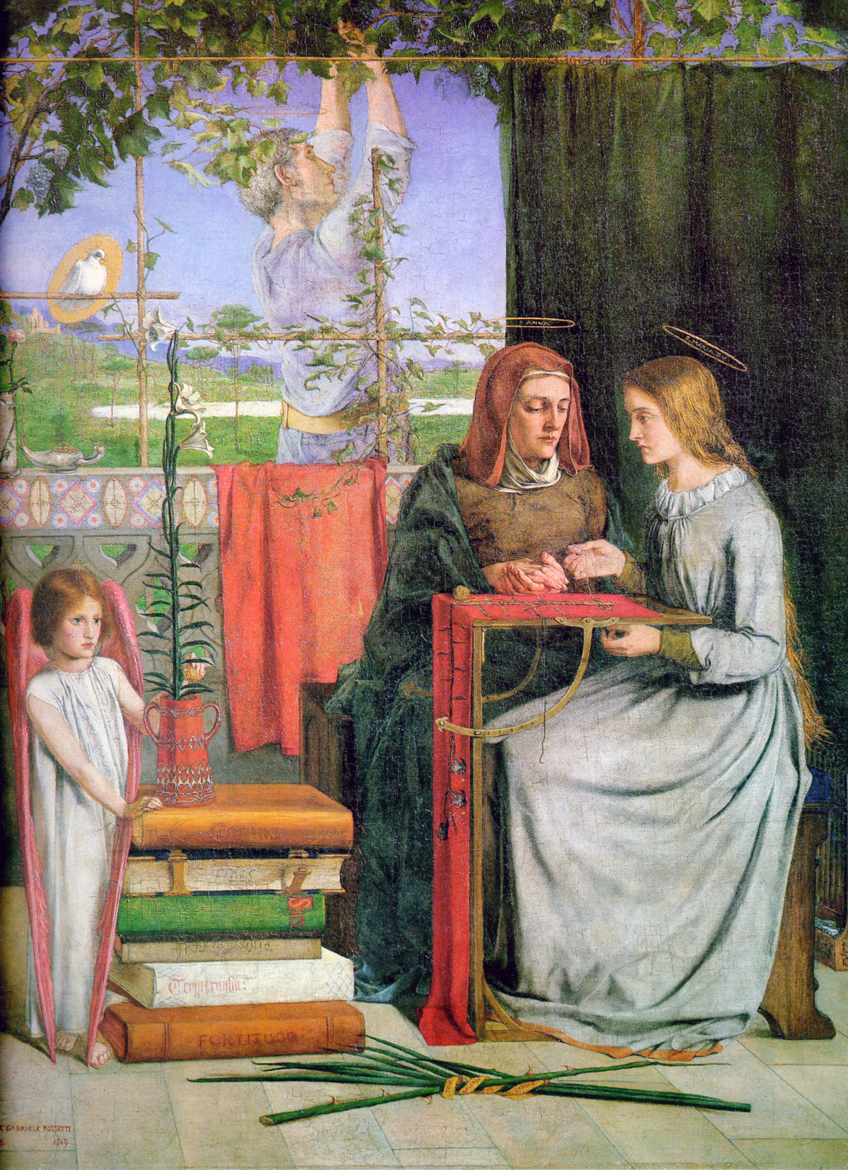The Childhood of Mary Virgin, 1849 — Dante Gabriel Rossetti,