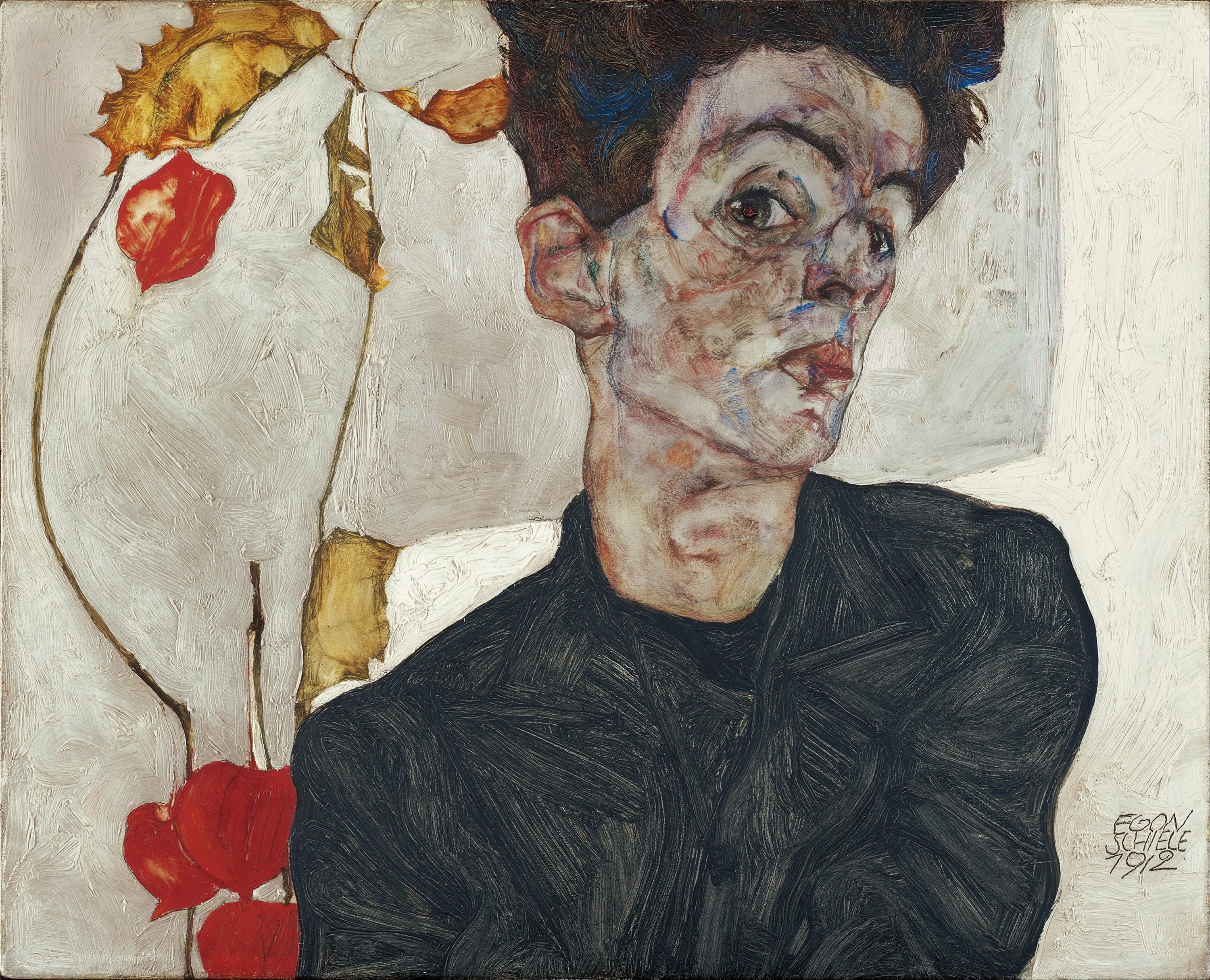 Self-Portrait with Physalis, 1912 — Egon Schiele,