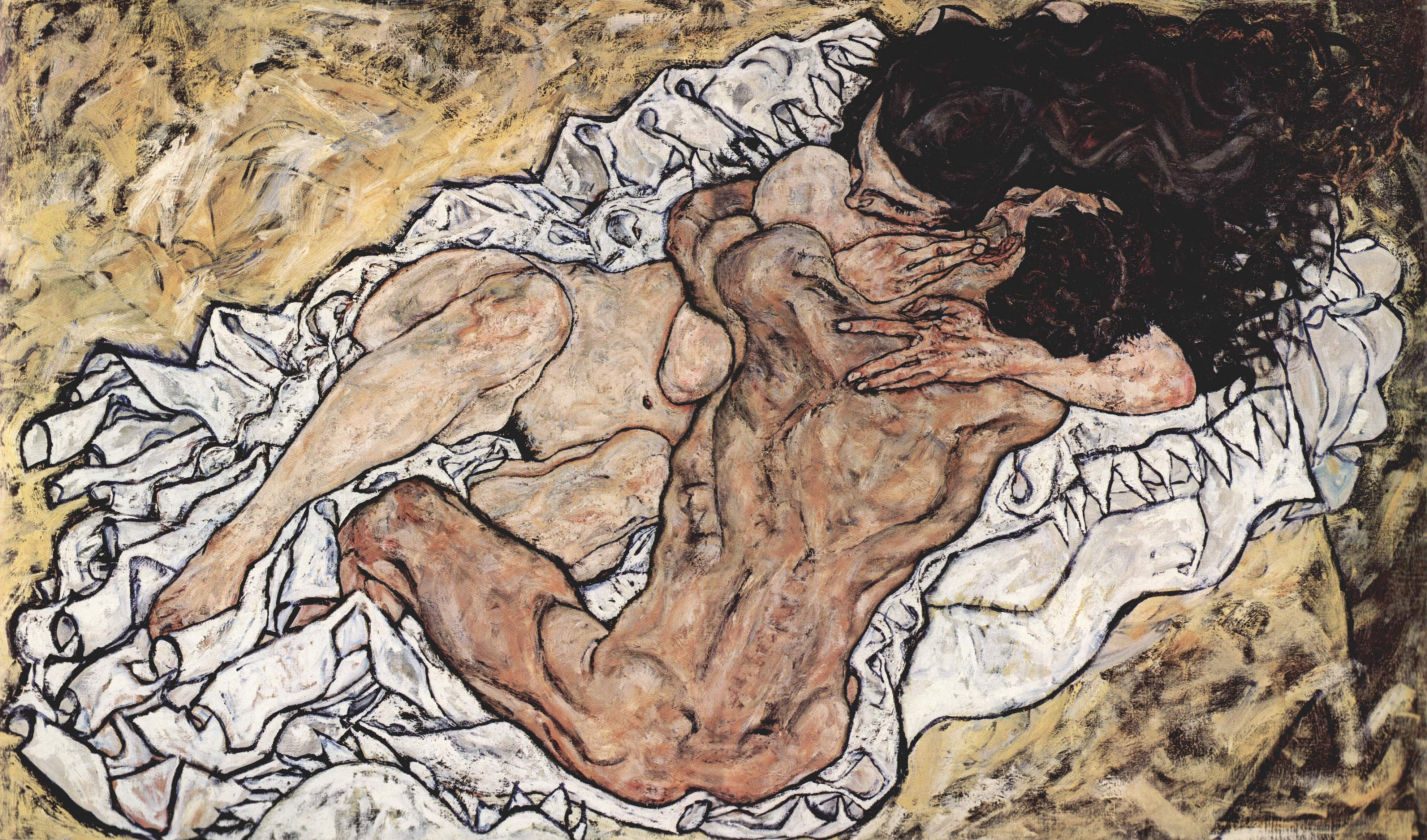 The Embrace, 1917 — Egon Schiele, Belvedere Palace and Museum Vienna