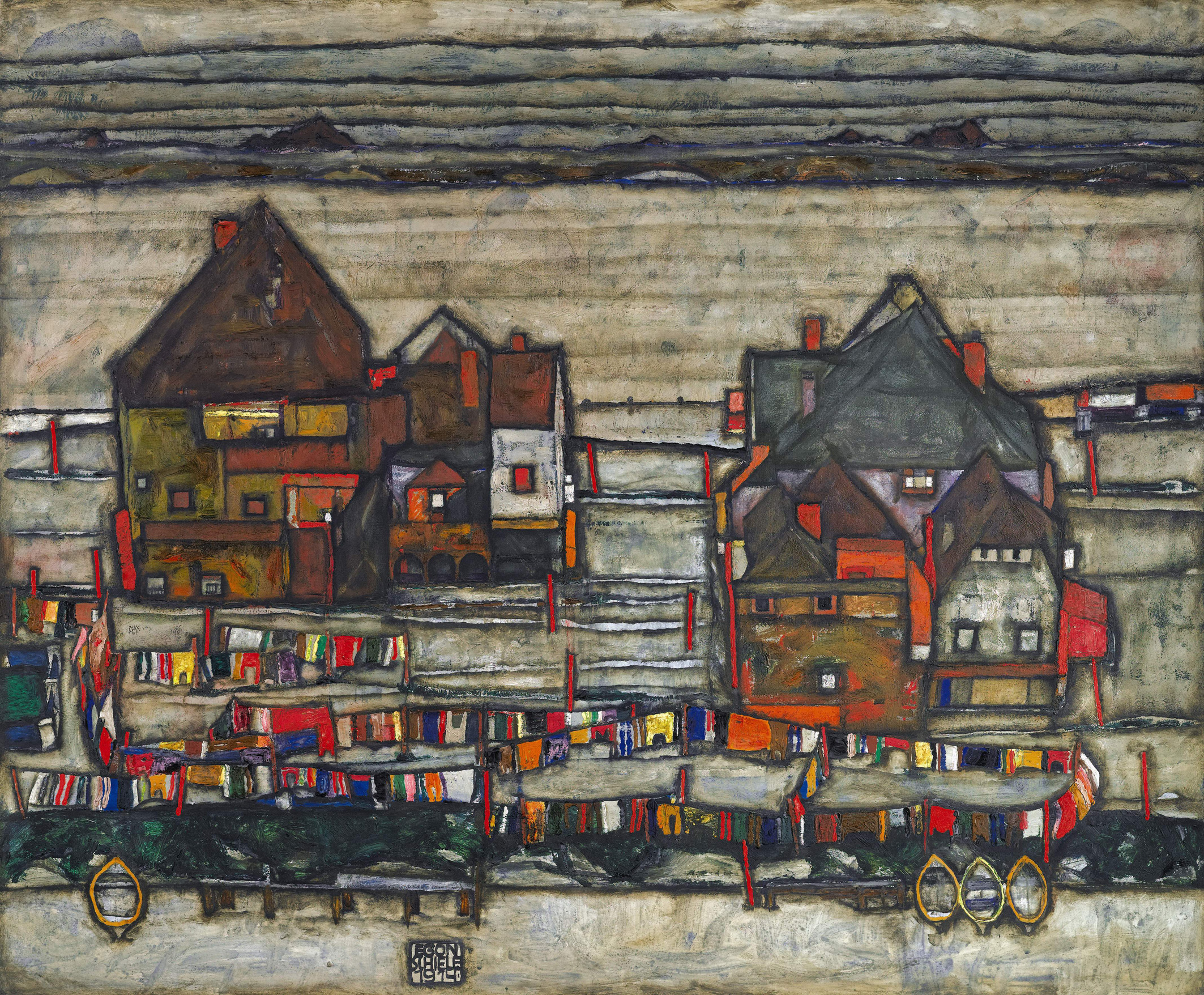 Houses with Laundry (Seeburg), 1914 — Egon Schiele,