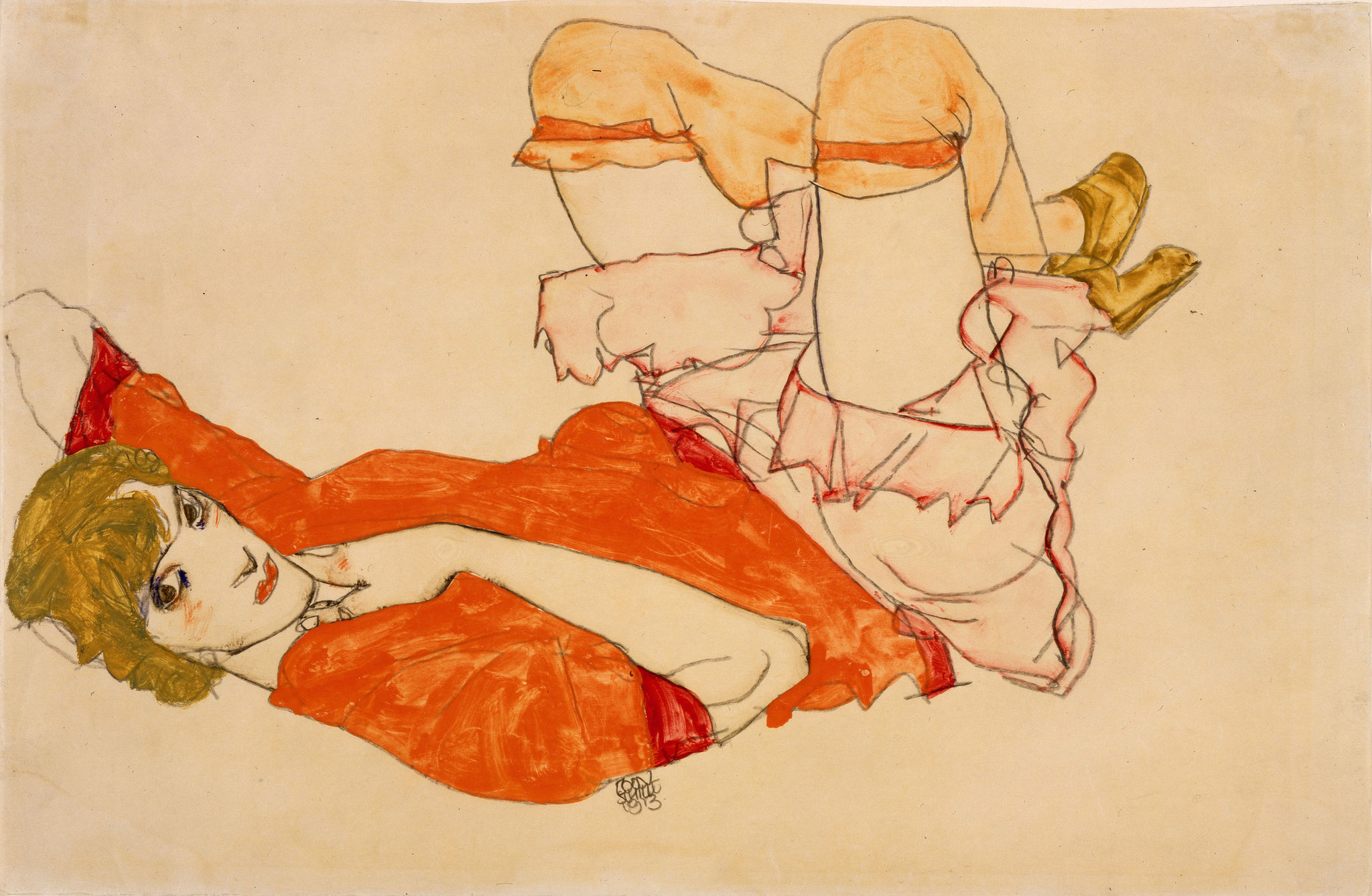 Wally in Red Blouse with Raised Knees, 1913 — Egon Schiele,
