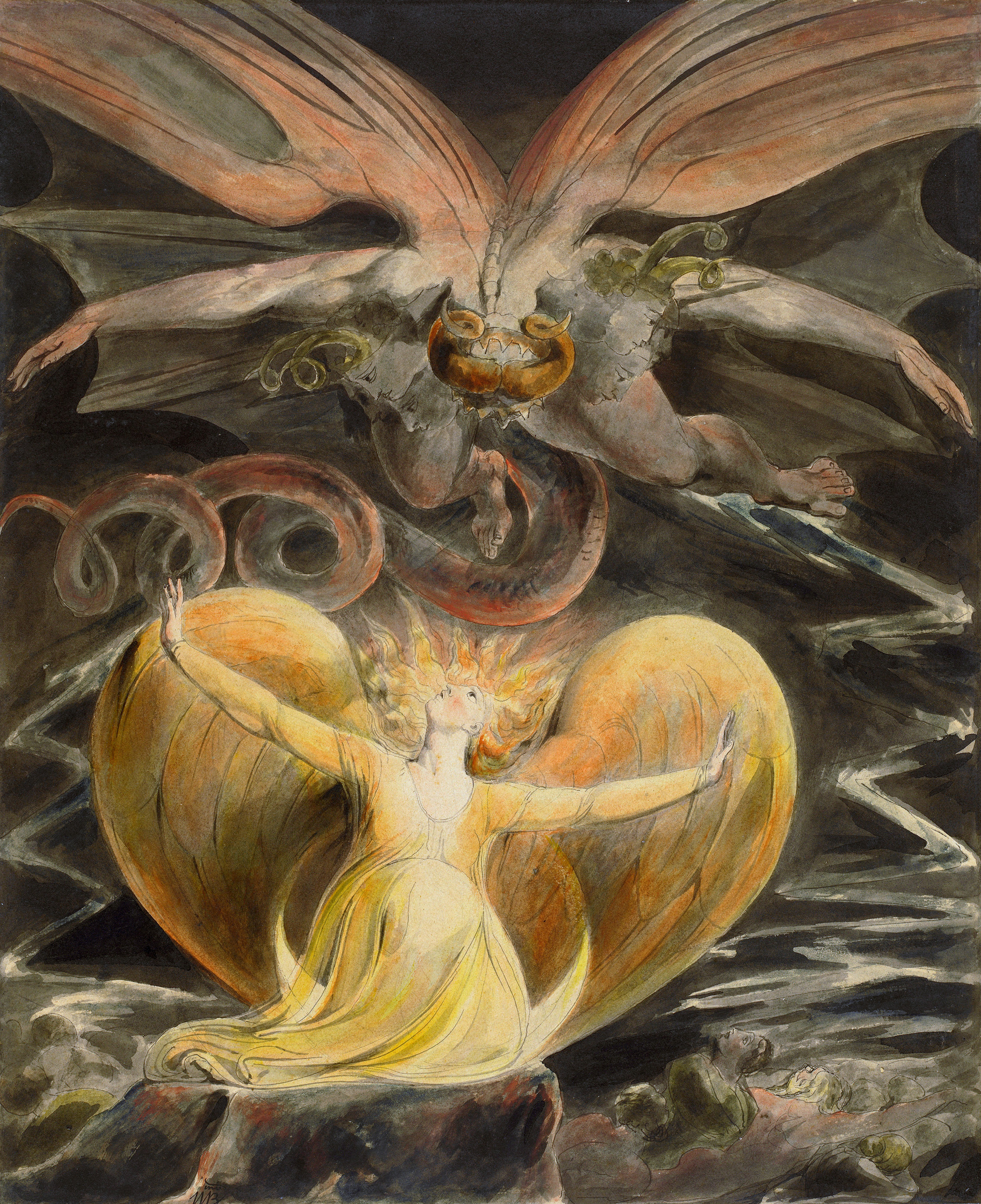 The Great Red Dragon and the Woman Clothed in Sun, 1810 — William Blake